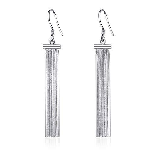 LUHE Tassel Earrings Sterling Silver Classic Long Chain Fringe Dangle Earrings for Women -