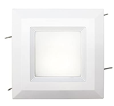 Westgate 15W 6 Inch LED Retrofit Square Shaped Down-light with Baffle Trim, Dimmable LED Recessed Light Fixture, Damp Location Rated, 120V Energy Star 5 YR Warranty