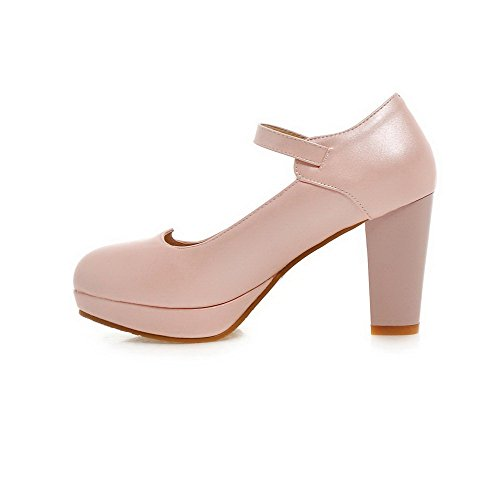 VogueZone009 Women's Buckle High-Heels PU Solid Round Closed Toe Pumps-Shoes Pink A51Z3TRj