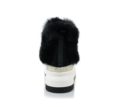 Bottes De Neige À La Mode De Cheveux De Lapin De Femme Confortable Bottom Muffin En Cuir Véritable Low Bottines, 35