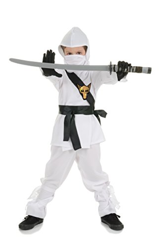 Underwraps Ninja Costume, White, Small -