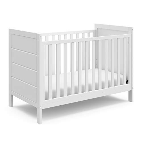 Storkcraft Nestling 3-in-1 Convertible Crib (White) – Easily Converts to Toddler Bed and Daybed, 3-Position Adjustable Mattress Support Base, Planked End Panels for Transitional Style