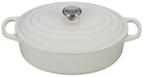 Le Creuset Enameled Cast Iron Signature Oval Dutch French Oven, 2 3/4 quart, White by Le Creuset
