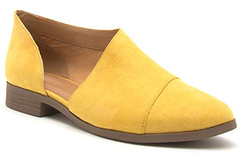 MVE Shoes Womens Stylish Pointed Toe Wrap Design Pointed Toe Slip On Ankle Bootie Yellow*t68