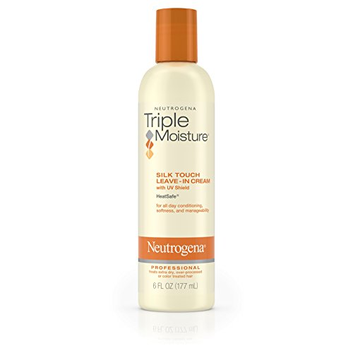 Neutrogena Triple Moisture Silk Touch Leave-In Cream Conditioner for Extra Dry Hair, Damaged & Over-Processed Hair, Hydrating with Olive, Meadowfoam & Sweet Almond, 6 fl. oz (Best Leave In Conditioner For Color Treated Hair)