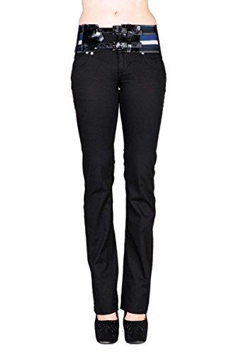 VIRGIN ONLY Women's Slim Fit Stretch Denim Straight Leg Jeans (Rich Black, Size (Cotton Rich Denim Jeans)