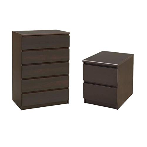 Tvilum Scottsdale 2 Piece 5 Drawer Chest and 2 Drawer Nightstand Set in ()