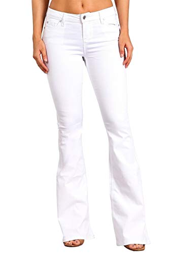 Celebrity Pink Women's Mid Rise Flare Jeans 13 White CJ21060H50