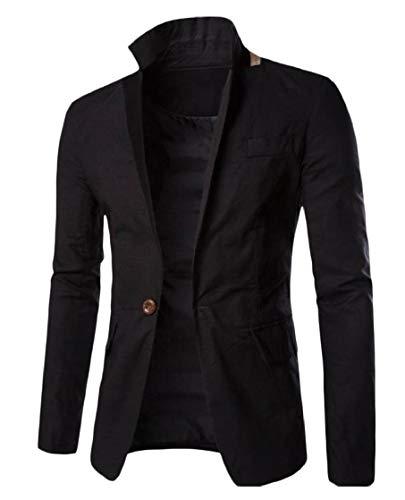 Collare Cuterose Di Uomini up Blazer Pura Button Girare Colore Biancheria piumino Nero nEan7Aqw