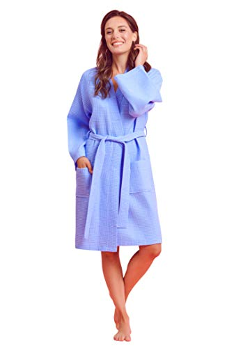 Ladies Waffle - Soft Touch Linen Women's Waffle Robe. Knee Length, Lightweight, Absorbent (XX-Large, Serenity Blue)