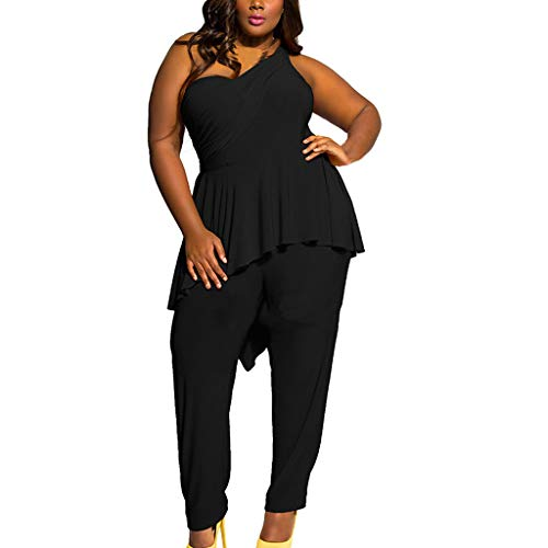 Plus Size Women Sexy Slim Solid Color One Shoulder Ruffled Long Rompers Trousers Halter Jumpsuit Black