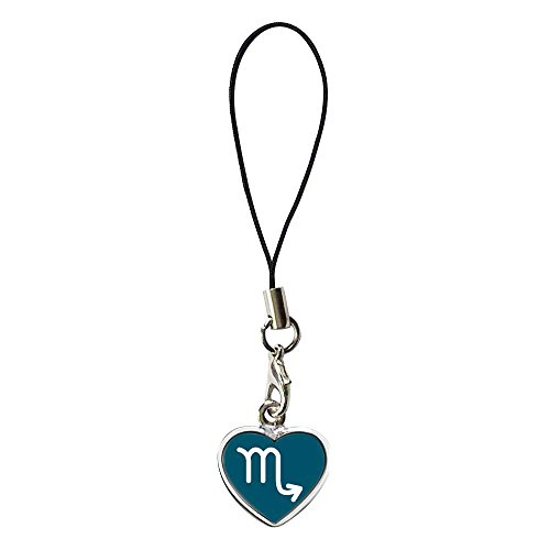 GiftJewelryShop Silver Plated Scorpio Zodiac Charm Photo Dangle Heart Strap Hanging Chain for Phone Cell Phone Charm