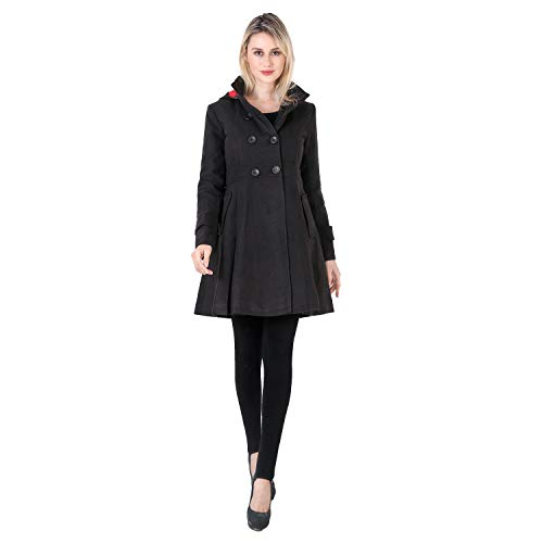 VERGOODR Women Winter Swing Double Breasted Wool Pea Coat Dress with Hood Spring Mid-Long Long Sleeve Standing Collar Dress Coats (Black, M)