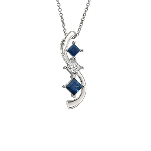 14k White Gold Princess-Cut Journey Diamond & Sapphire Three-Stone Pendant Necklace (1/2 ctw, H-I, I1-I2)