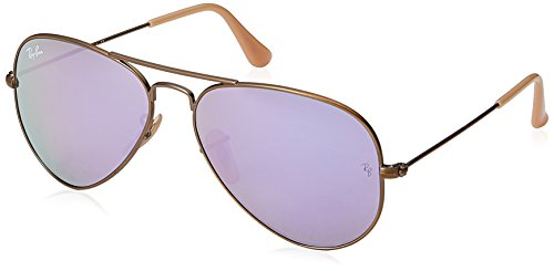 Ray-Ban RB3025 Aviator Flash Mirrored Sunglasses, Brushed Bronze Demigloss/Lilac Mirror, 55 mm