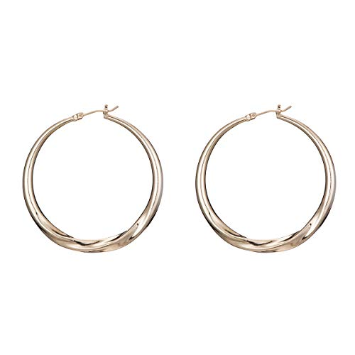 Big Hoop Earrings- Copper material Hypoallergenic Gold Plated Plated Silver Rounded Rose Gold hoop earrings (Yellow3)