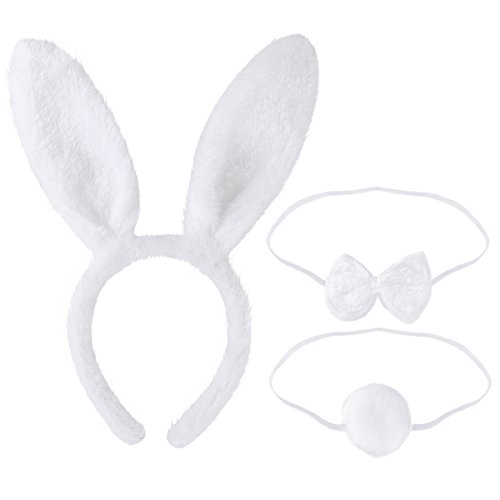 TINKSKY Bunny Cosplay Set Rabbit Costume Accessory Cute Ears Headband Tail Bow Tie for Party Cosplay Costume,Pack of 3(White)]()