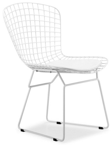 Bertoia Style Wire Side Chair In White Finish Frame (White Pad)