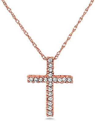 Kobelli Diamond Cross Necklace 1/10 Carat TDW Shared Prongs in 10k Gold