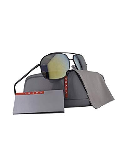 Prada 56RS Aviator Metal Unisex Polarized Sunglasses (Grey Rubber Frame, Green Mirror Lens TIG4J2) ()