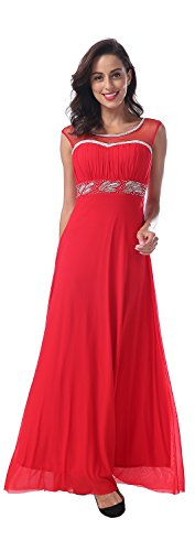 Conail Coco Women's Tulle Beading A-Line Bridesmaid Prom Dresses Long Cocktail Evening Gowns (Medium, 04Red)