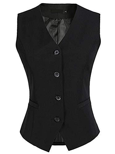 (LifeShe Women's Fully Lined 4 Button V-Neck Economy Dressy Suit Vest Waistcoat (Black,)