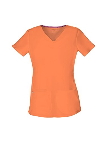 (HeartSoul 20710 Women's Pitter-Pat Shaped V-Neck Top Orange Pop 3X-Large)