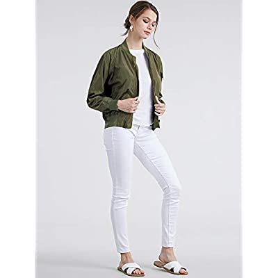 Lock and Love Women's Classic Lightweight Jacket Multi Pocket Windbreaker Bomber Jacket: Clothing