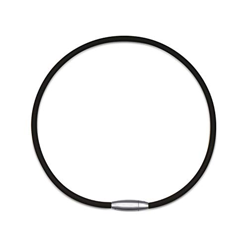 (Embolden Jewelry Power/Energy Necklace [Black] for Sports [Titanium ION Edition] - Thick Silicone/Rubber Cord and [Magnetic Clasp] for Softball, Baseball, Health Benefits [for Men & Boys])