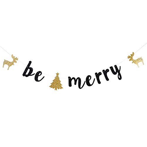 Black Glitter Be Merry Banners Garlands for Xmas Party Decoration Photo Prop