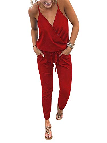 Adibosy Women V Neck Jumpsuits Overalls Strap Sleeveless Summer Casual Playsuit Rompers with Pockets Red XL