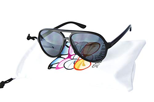 Kd37 Baby toddlers infant kids 0~3 year old & over Turbo Aviator Sunglasses glasses (Black 0~36 months, UV400)]()