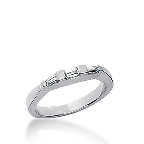 0.2 Ct Diamond Wedding Band Ring Baguette Channel 14k White Gold