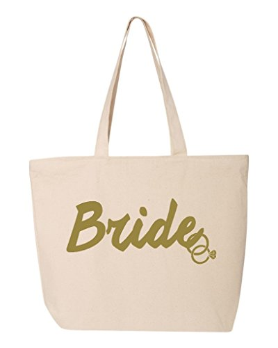 Shop4Ever Bride Gold Rings Heavy Canvas Tote with Zipper Wedding Reusable Shopping Bag 12 oz Natural 1 Pack Zip