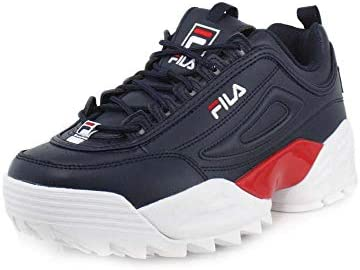 FILA Mens Disruptor 2 Lab Fila NavyWhiteFila Red Sneaker