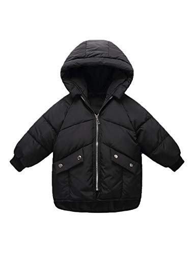 Unisex Zipper Children Children Hooded Coat Cotton Outdoor Outerwear Winter Fashion Clothes Jacket Black BESBOMIG 1pnHTUH