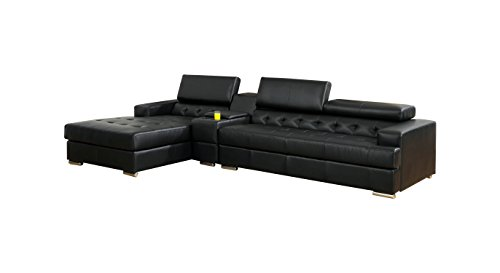 HOMES: Inside + Out IDF-6122BK-CT-SEC ioHOMES Sydell Bonded Leather Adjustable Headrest Sectional, Black