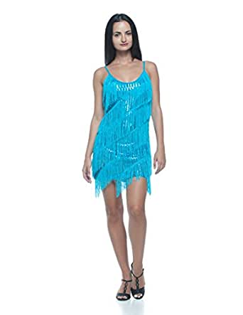 Women's Tiered Fringe Sequin Flapper Vintage Style 20s Cocktail Party Slip Dress (S/M, Blue)