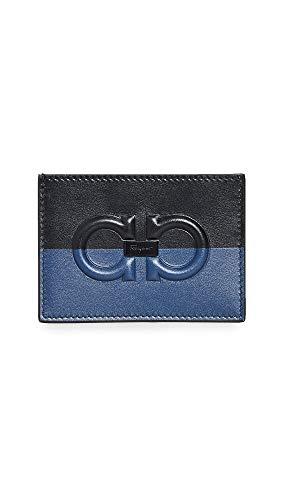 Salvatore Ferragamo Men's Firenze Logo Card Case, Black/Blue, One Size - Firenze Card Case
