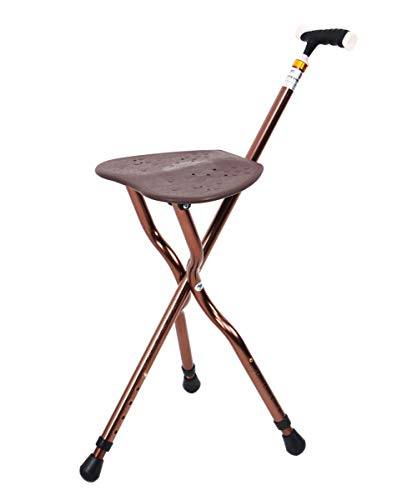 Folding Canes Seat Walking Stick Height Adjustment Cane Seat 350 lbs Capacity Combo Chairs Stool Deluxe Massage Crutches Seat Aluminum Walking Stick Travel Aid for Elder Gift Brown - Cane Stool Folding