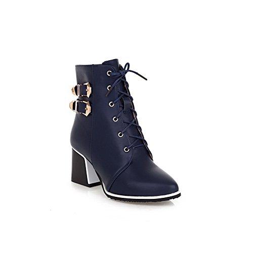 A&N Girls Bandage Winkle Pinker Chunky Heels Soft Material Boots Blue d4J1hJho