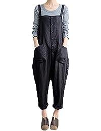 a90a8e57987fb Women's Baggy Wide Leg Overalls Cotton Linen Jumpsuit Harem Pants Casual  Rompers
