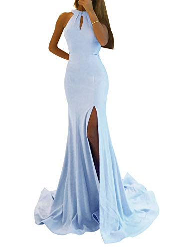 Women's Sexy Mermaid Prom Dress Long Side Split Halter Evening Gowns Party Maxi Baby Blue Size 2