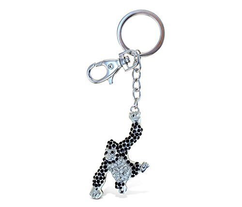 Puzzled Elegant Metal Ring Sparkling Stylish Wild Ape Gorilla Charms Keychain Rust Resistant Alloy & Crystals Keyring Unique Backpack Handbag Purse Mobile Bling-bling Decoration Gadgets Accessories