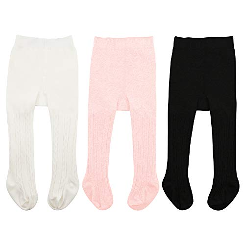 Zando Baby Girls Tights Soft Cable Knit Cotton Leggings For Baby Big Girls Toddler Seamless Socks Infant Pants Stockings White & Black & Ballet Pink XL/2-4 Year ()