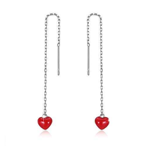 Sterling Silver Heart Threader Earrings - Red Heart Dangle Threader Earrings, 925 Sterling Silver Long Love Heart Open Drop Earrings Gift Jewelry to Women and Girls Mother's Day