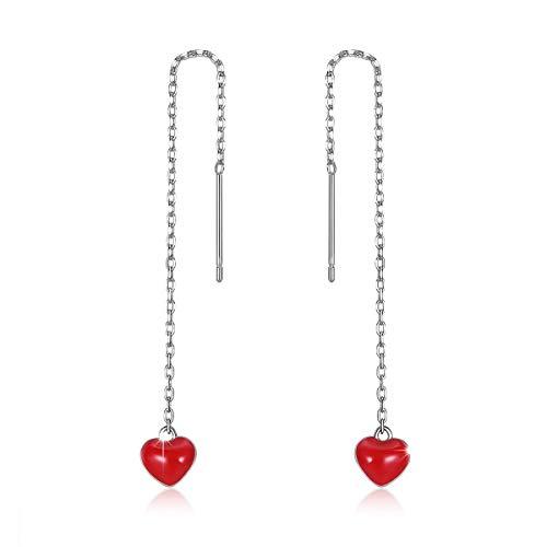 Jewelry Drop Earrings Heart (Red Heart Dangle Threader Earrings, 925 Sterling Silver Long Love Heart Open Drop Earrings Gift Jewelry to Women and Girls Mother's Day)