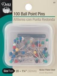 - Dritz Color Ball Point Pins-Size 20 100/Pkg