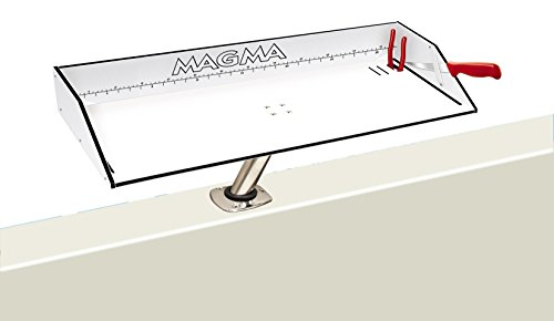 (Magma Products, T10-313B Combination Bait/Filet Mate Table with Levelock Rod Holder Mount, 31 inch x 12-1/2 inch)