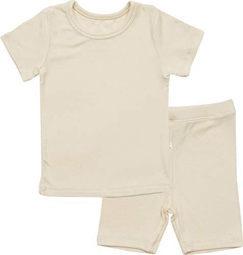 AVAUMA Newborn Baby Little Boys Snug-Fit Pajamas Summer Short Sets Pjs Kids Clothes (XS/Beige)